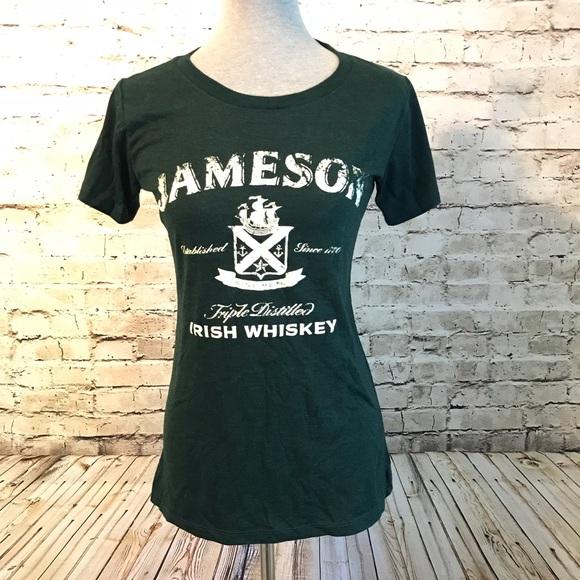 a2f57e8eb45 Jameson Whiskey Tops - Jameson Irish Whiskey Green T-Shirt Crew Neck Med